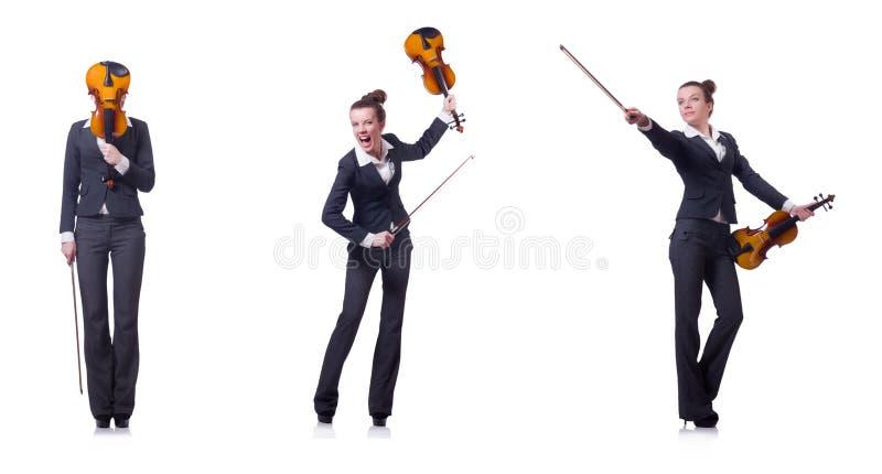 Le violoneur de femme d'isolement sur le fond blanc images stock