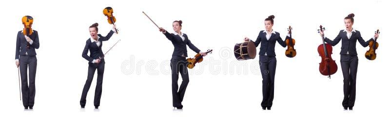 Le violoneur de femme d'isolement sur le fond blanc photo stock