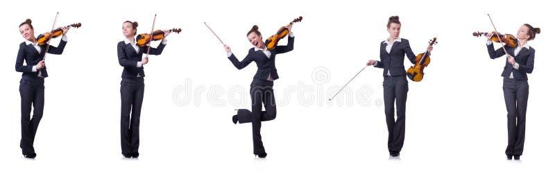 Le violoneur de femme d'isolement sur le fond blanc image stock