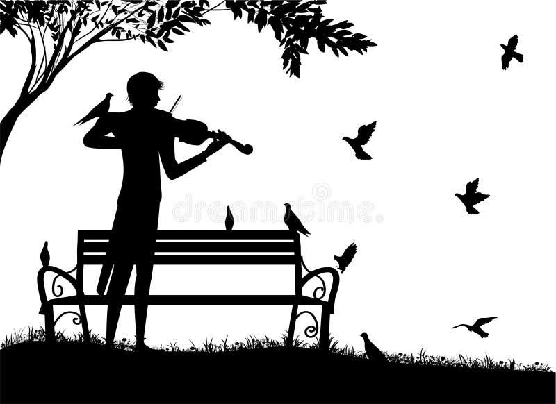 Le violoniste joue en parc avec des pigeons, le rêveur de violon, mélodie isolée romantique avec des oiseaux, souvenirs nostalgiq illustration stock