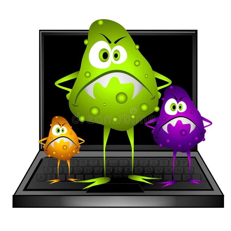 Le virus d'ordinateur introduit des erreurs pour tests le clipart (images graphiques) illustration stock