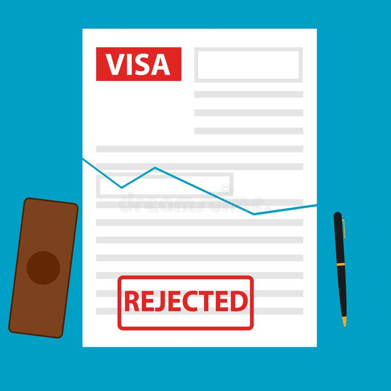 Le visa est nié, pas donné un visa illustration de vecteur