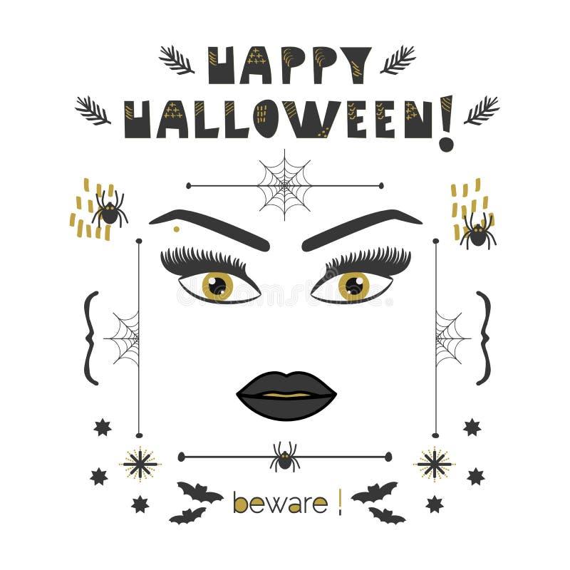 Le visage abstrait de femme avec les yeux d'or et les longues mèches et les sourcils Halloween heureux prennent garde de la carte illustration de vecteur