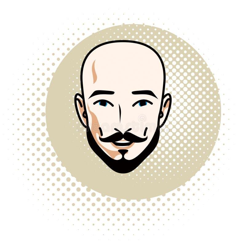 Le visage caucasien d'homme comporte exprimer la confiance, humain de vecteur illustration stock