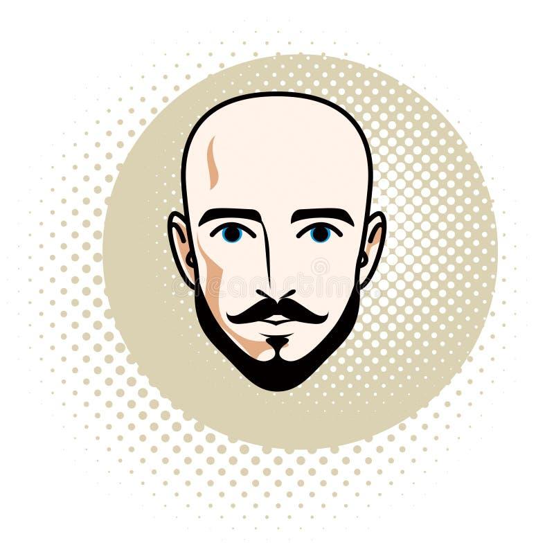 Le visage caucasien d'homme comporte exprimer la confiance, humain de vecteur illustration libre de droits