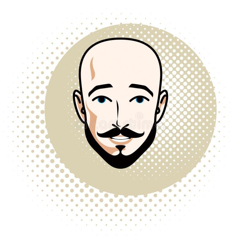 Le visage caucasien d'homme comporte exprimer la confiance, humain de vecteur illustration de vecteur