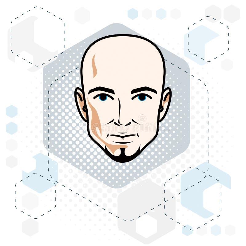 Le visage caucasien d'homme, dirigent l'illustration de tête humaine H attrayant illustration de vecteur