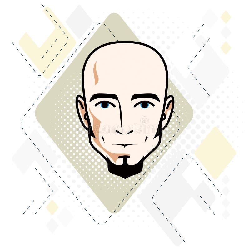 Le visage caucasien d'homme, dirigent l'illustration de tête humaine H attrayant illustration libre de droits
