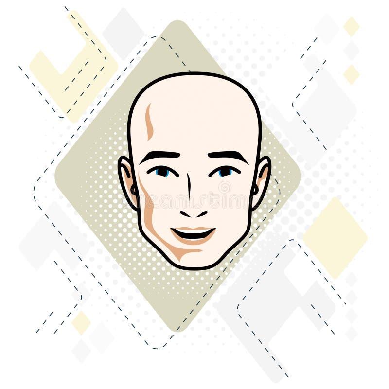 Le visage caucasien d'homme exprimant des émotions positives, dirigent l'humain il illustration stock