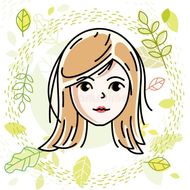 Le visage caucasien de femme, dirigent l'illustration de tête humaine attrayant illustration de vecteur