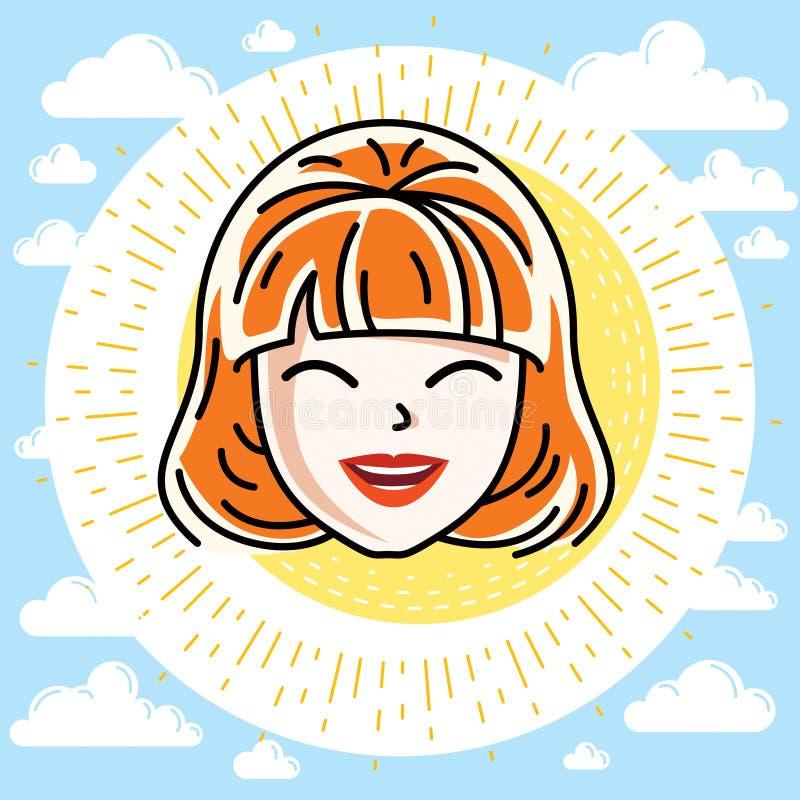Le visage caucasien de femme exprimant des émotions positives, dirigent l'humain illustration stock