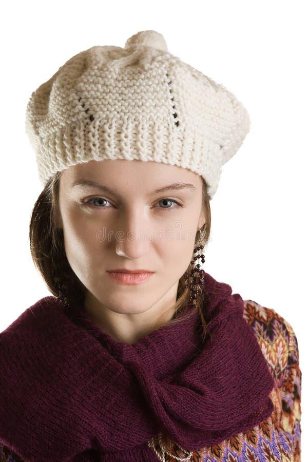 Le visage d'une belle fille en hiver vêtx images libres de droits