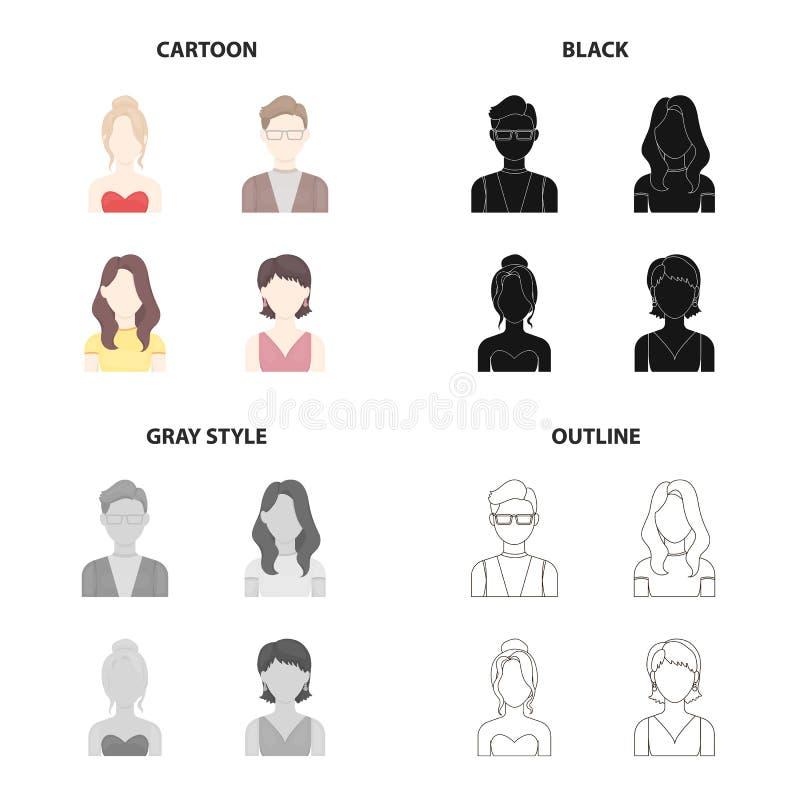 Le visage d'une fille avec une coiffure, l'aspect d'un homme avec des verres, une jeune fille Visage et collection réglée d'aspec illustration libre de droits