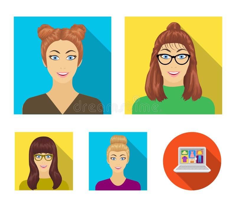 Le visage d'une fille avec des verres, une femme avec une coiffure Visage et icônes réglées de collection d'aspect dans le vecteu illustration de vecteur
