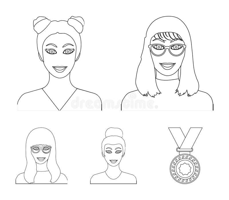 Le visage d'une fille avec des verres, une femme avec une coiffure Visage et icônes réglées de collection d'aspect dans le vecteu illustration libre de droits