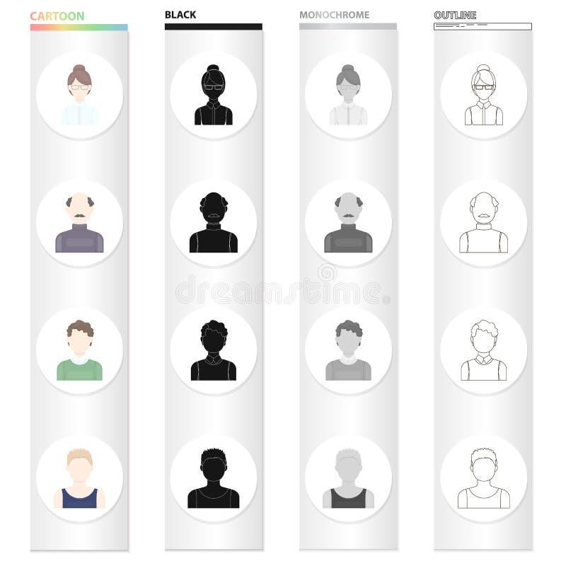Le visage d'une fille avec des verres, un homme chauve, l'aspect d'un garçon blond Visage et icônes réglées de collection d'aspec illustration de vecteur