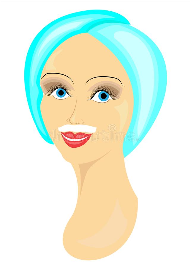 Le visage d'une fille La dame fait le dépilage du visage Enlève des cheveux au-dessus de la lèvre supérieure Illustration de vect illustration libre de droits