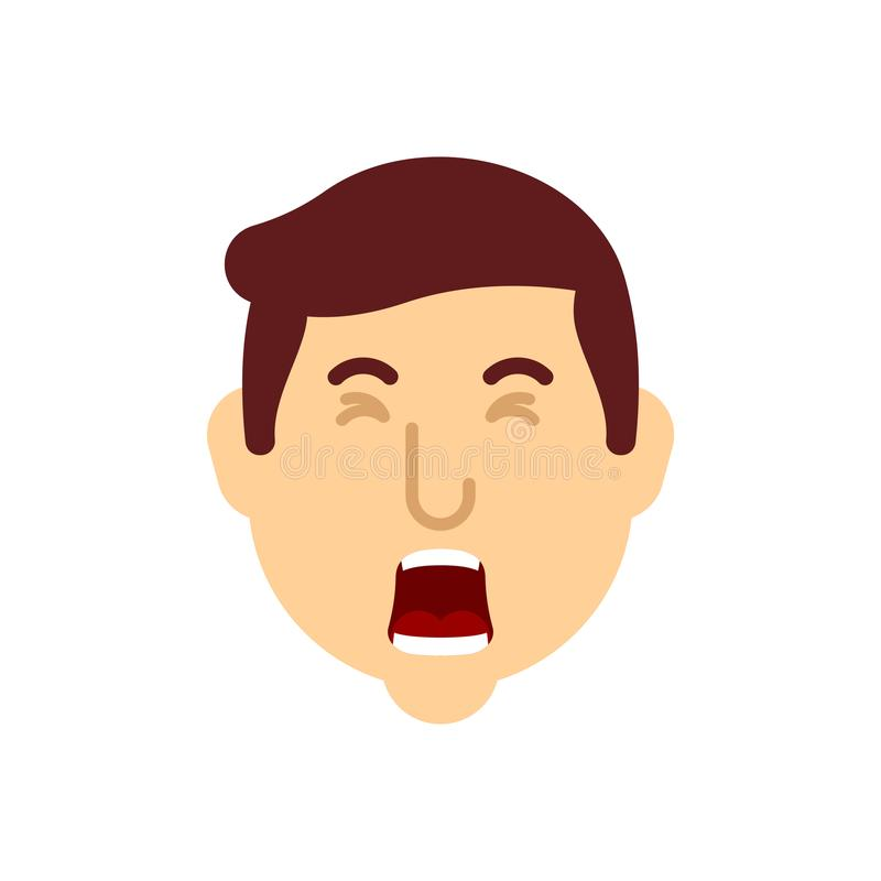 Le visage de bâillement d'homme a isolé Le type baîlle Illustration de vecteur illustration stock