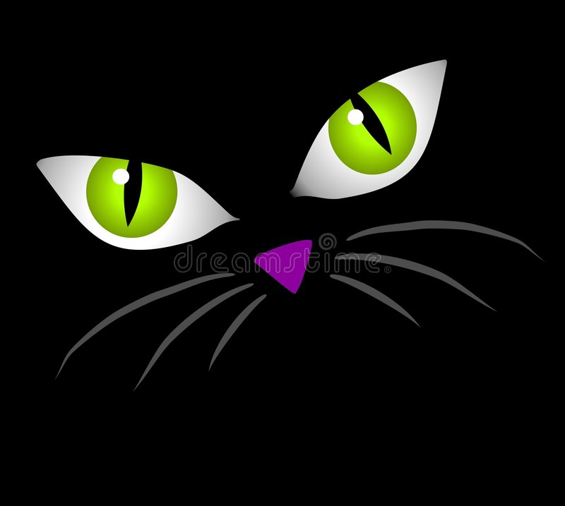Le visage de chat noir observe le clipart (images graphiques)   illustration libre de droits