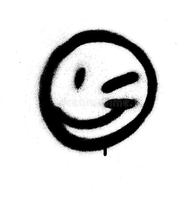 Le visage de clin d'oeil d'émoticône de graffiti a pulvérisé dans le noir sur le blanc illustration libre de droits