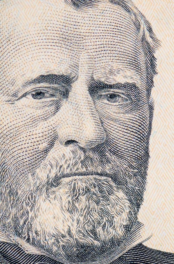 Le visage de Grant le macro de billet d'un dollar image stock