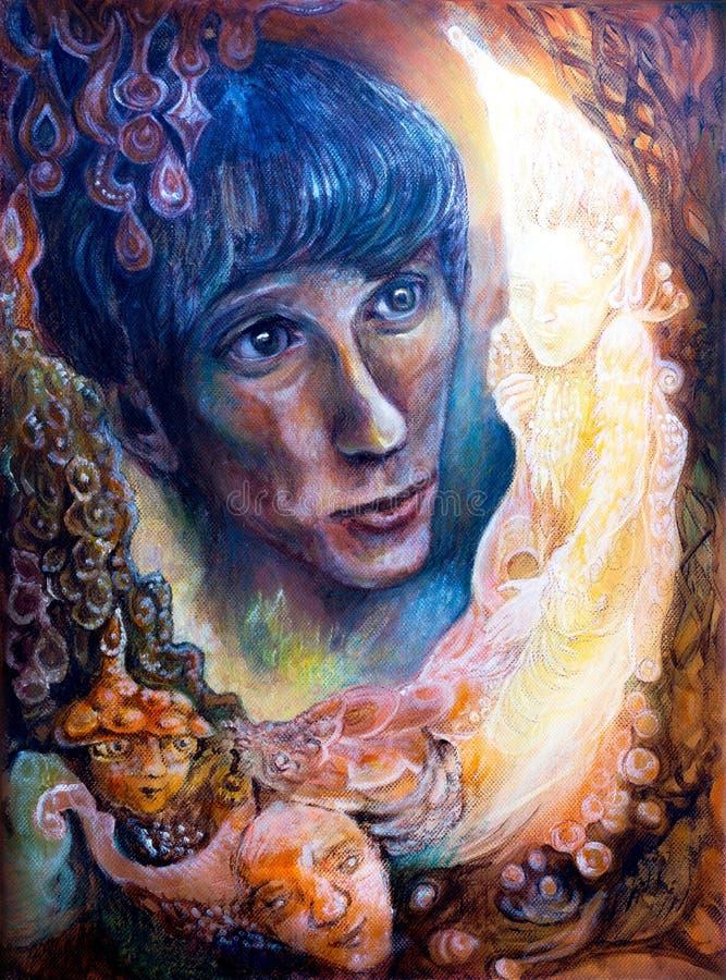 Le visage de jeune homme a étonné en jouant l'élément chauffant elven la créature illustration stock