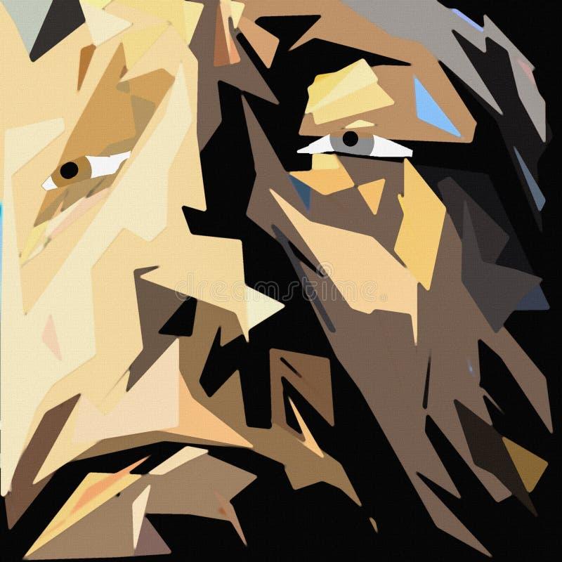 Le visage de l'homme dans des couleurs brunes illustration stock