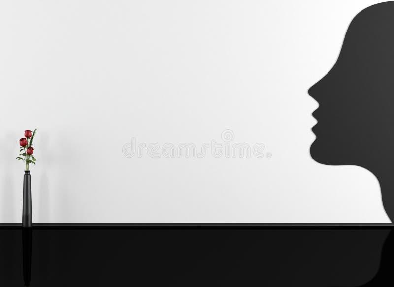 Le visage de la femme peint sur le mur dans une salle vide illustration de vecteur