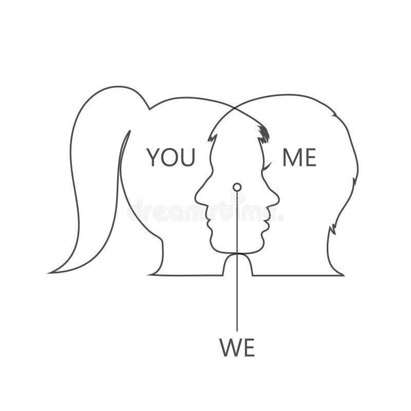 Le visage de la fille et le garçon sont unis dans un illustration de vecteur