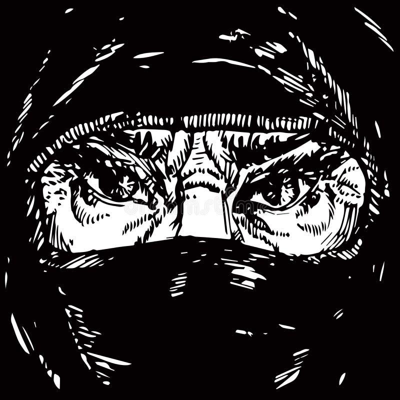 Le visage de la vieille femme musulmane avec les sourcils de froncement de sourcils fâchés, visage caché dans un foulard noir illustration libre de droits