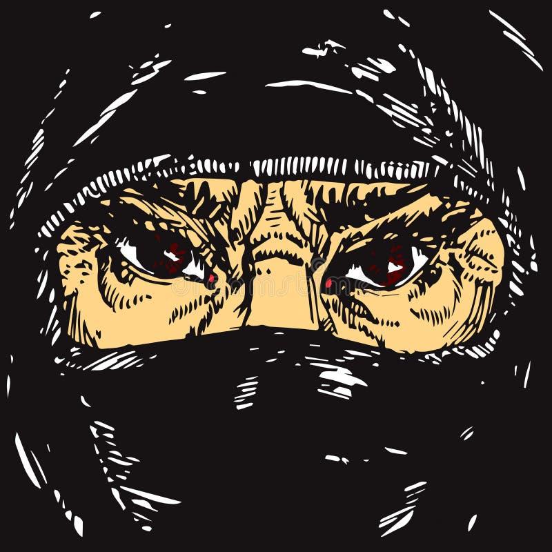 Le visage de la vieille femme musulmane avec les sourcils de froncement de sourcils fâchés, visage caché dans un foulard noir illustration stock