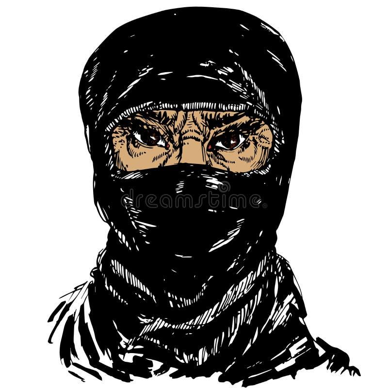 Le visage de la vieille femme musulmane avec les sourcils de froncement de sourcils fâchés, visage caché dans un hijab noir de fo illustration libre de droits