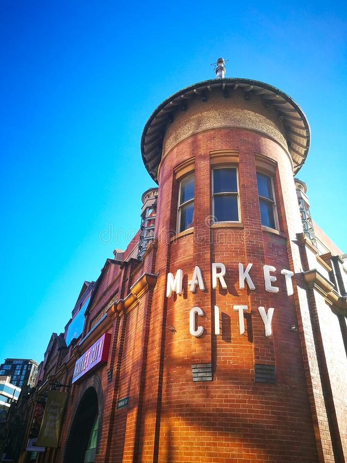 Le visage du marché de foin, ville de Sydney China Il a bien connu en tant que le centre commercial iconique de Sydney et marché  photo stock