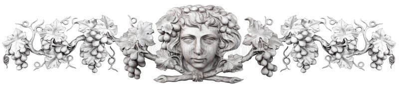Le visage et les raisins ont découpé en marbre d'isolement sur le blanc illustration stock