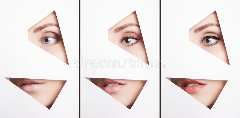 Le visage femelle partie le collage Résumé image libre de droits