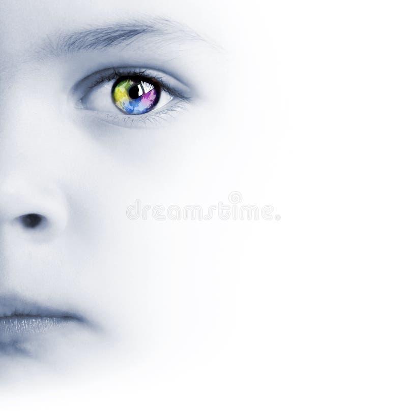 Le visage, l'oeil coloré et la carte de l'enfant image libre de droits