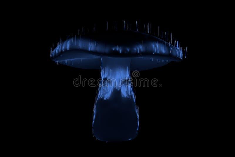 Le visage rougeoyant d'horreur de fantôme de champignons observe le bleu sur l'illustration 3d noire images libres de droits