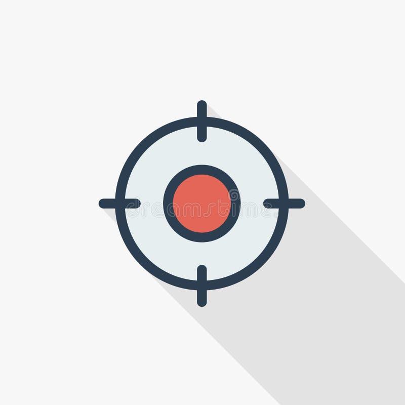 Le but, but, visent la ligne mince icône plate de couleur Symbole linéaire de vecteur Longue conception colorée d'ombre illustration stock