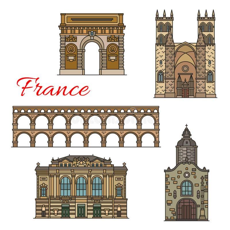 Le viste turistiche delle icone della Francia per il viaggio progettano illustrazione di stock