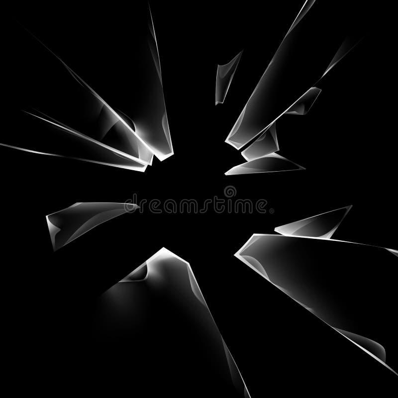 Le vitrail brisé cassé transparent de fente de vecteur avec des tranchants se ferment sur le fond de noir foncé illustration libre de droits
