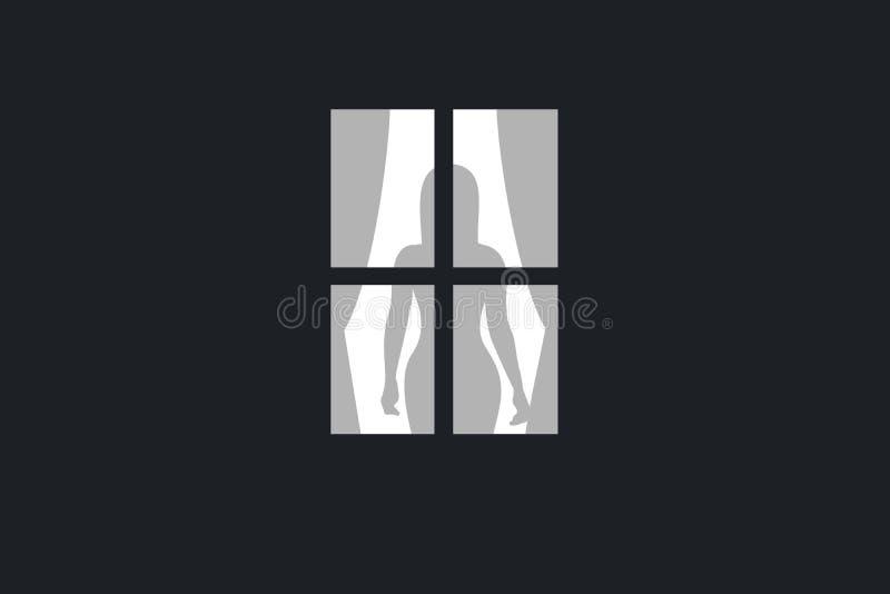 Le voisin observe la fenêtre dans la salle avec la belle, sexy et attirante femme derrière des rideaux illustration libre de droits