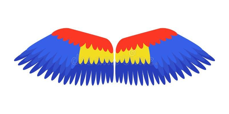 Le vol animal de liberté d'oiseau de perroquet de plume d'isolement par bleu d'ailes et la paix de la vie naturelle conçoivent l' illustration libre de droits