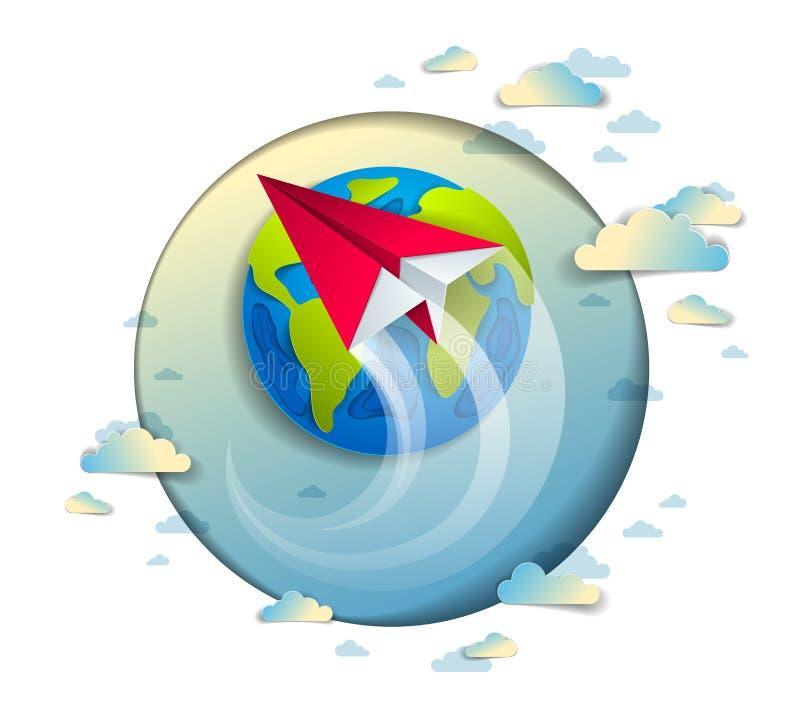 Le vol d'avion de jouet plié par origami autour du papier de bande dessinée a coupé l'oreille illustration stock