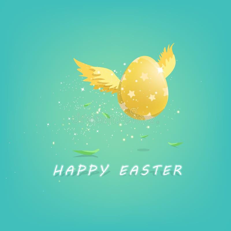 Le vol d'or d'oeufs de Pâques dans le printemps, carte de voeux, laisse la chute sur le plancher, vecteur de fond d'affiche d'in illustration de vecteur