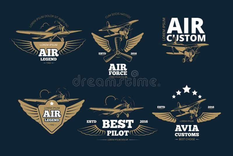 Le vol risque des logos et des labels de vecteur illustration de vecteur