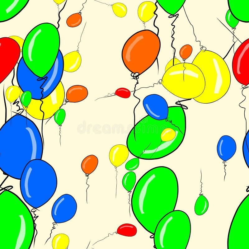 Le vol sans couture monte en ballon l'abrégé sur fond d'illustrations, tiré par la main Vecteur, papier peint, flottement et effe illustration libre de droits