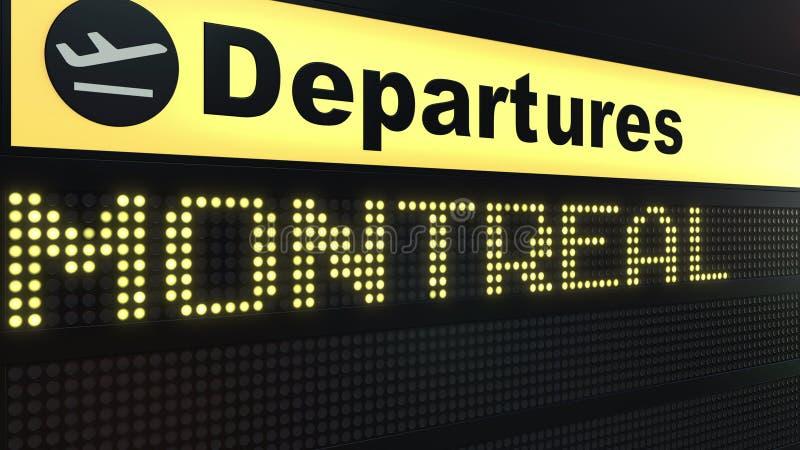 Le vol vers Montréal sur des départs d'aéroport international embarquent Déplacement au rendu 3D conceptuel de Canada illustration de vecteur