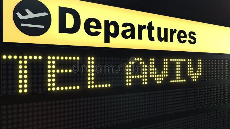 Le vol vers Tel Aviv sur des départs d'aéroport international embarquent Déplacement au rendu 3D conceptuel de l'Israël illustration stock