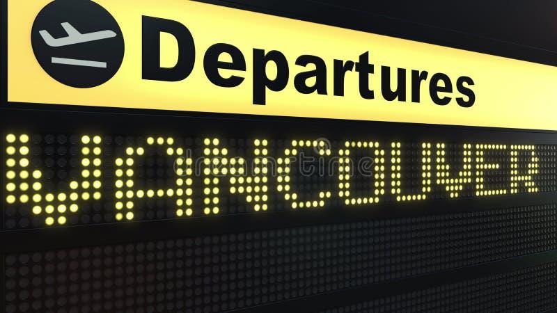 Le vol vers Vancouver sur des départs d'aéroport international embarquent Déplacement au rendu 3D conceptuel de Canada illustration libre de droits