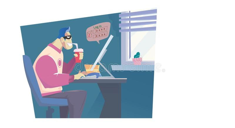 Le voleur d'Internet réalisent son travail illustration stock